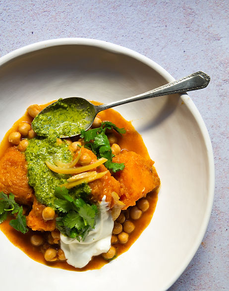Braised pumpkin and chickpeas with zhoug