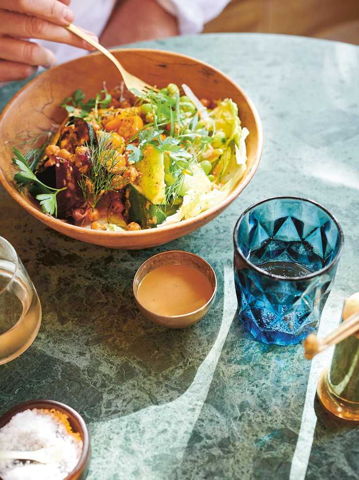 Summer chopped salad with citrus sesame dressing