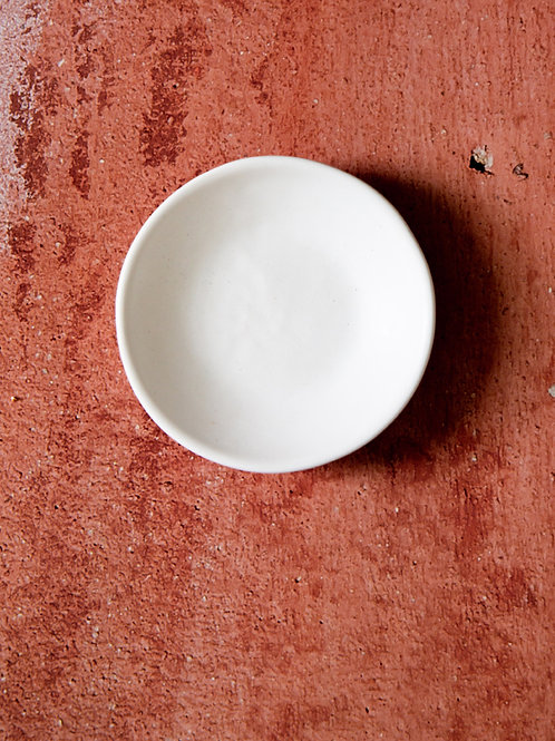 Handmade white ceramic salt dish