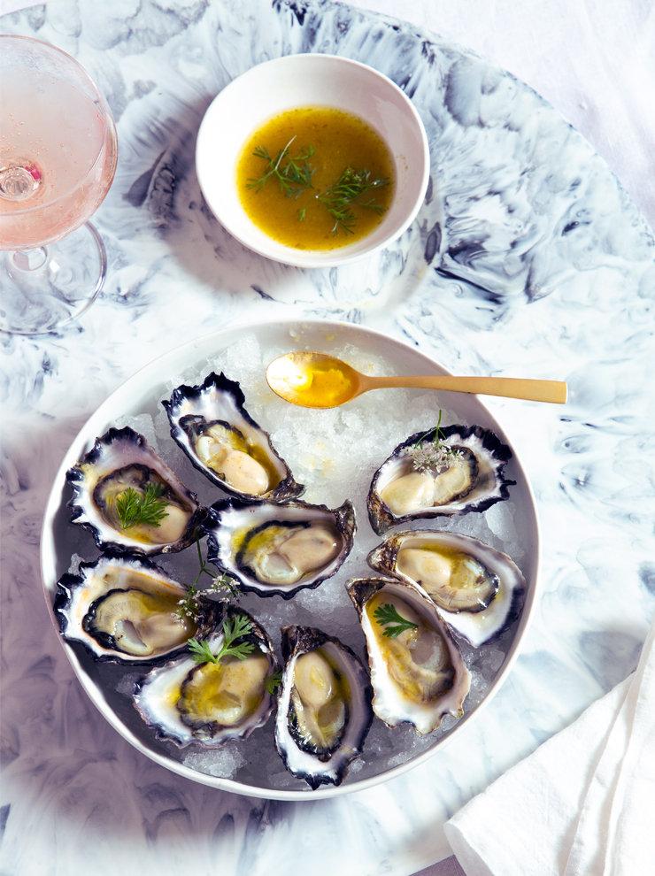 Oysters with yuzu kosho vinaigrette
