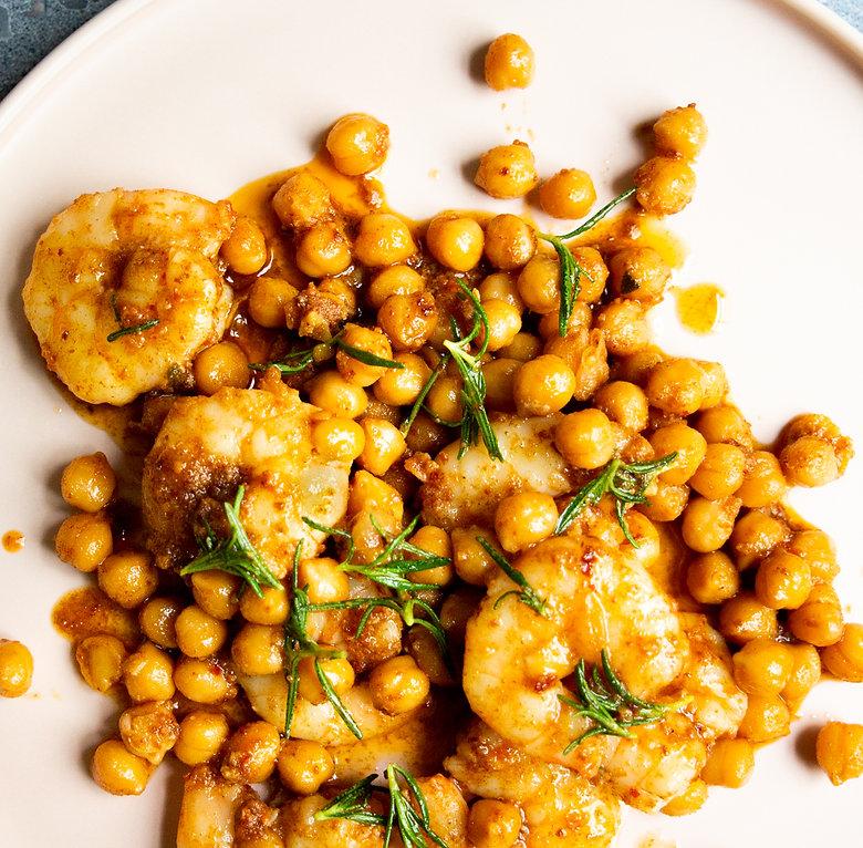 Kabuli chickpeas, prawns and 'nduja
