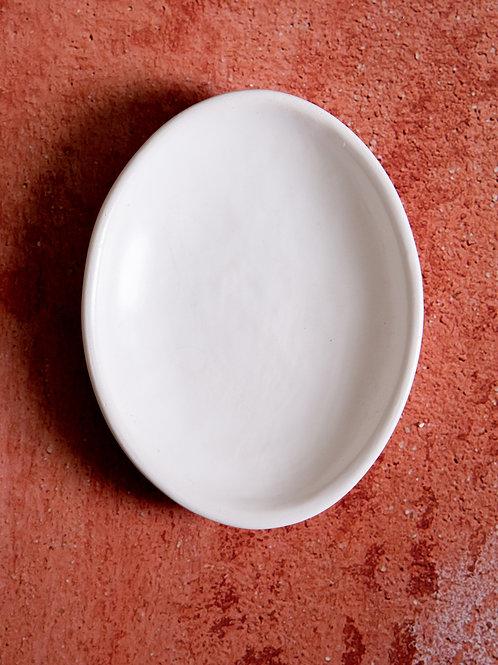 Handmade white ceramic condiment dish