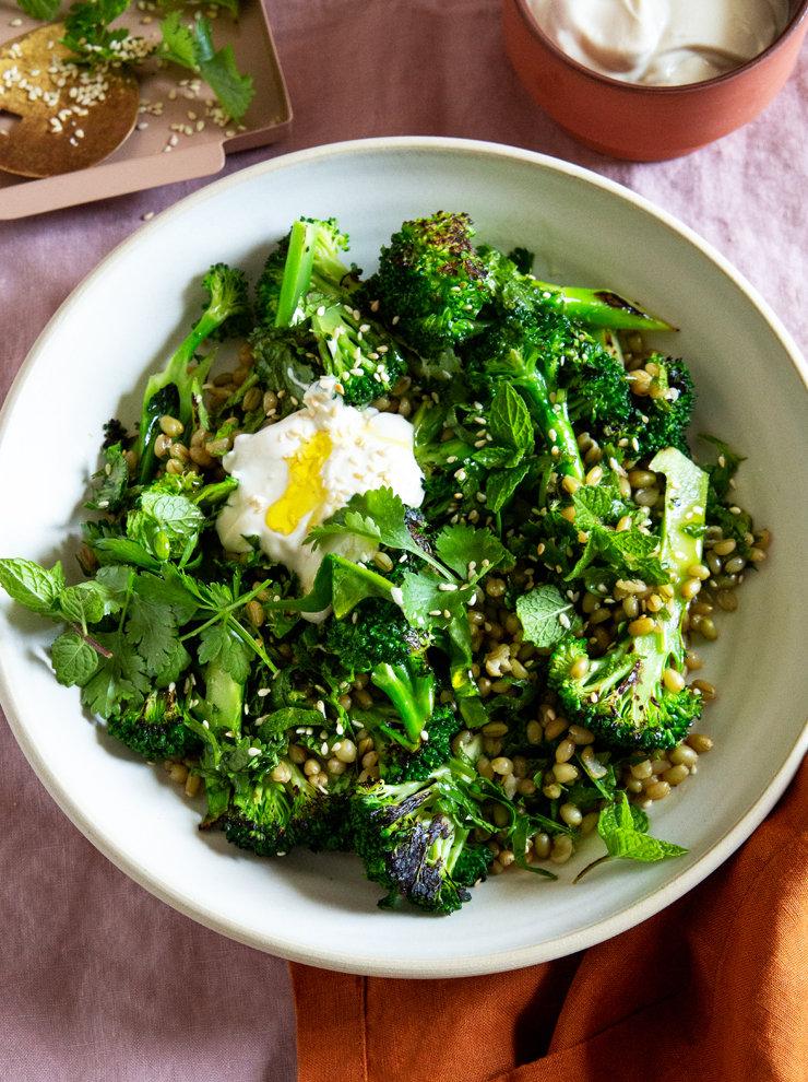 Freekah and charred broccoli salad with tahini-yoghurt