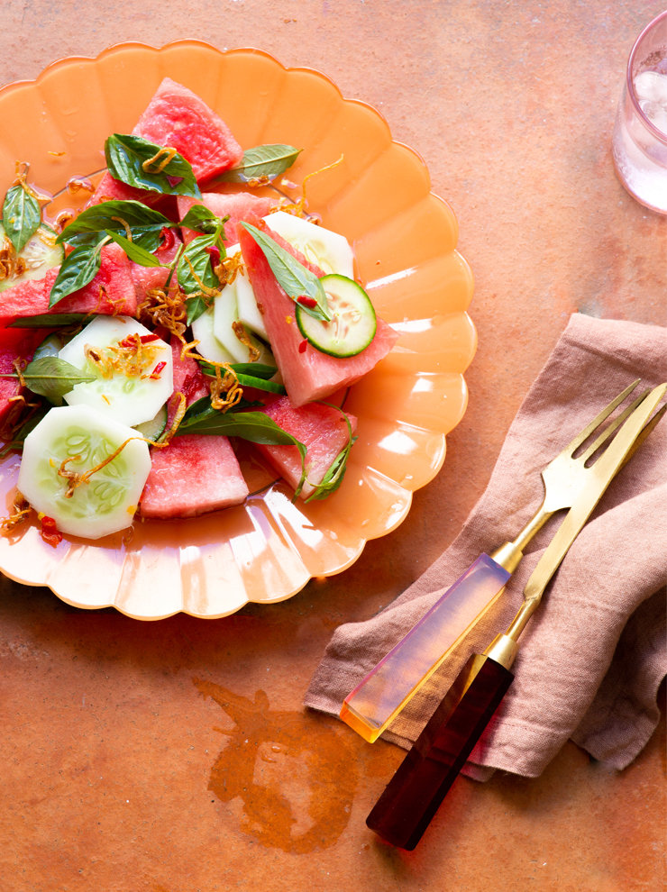 Watermelon and apple cucumber salad with Thai basil