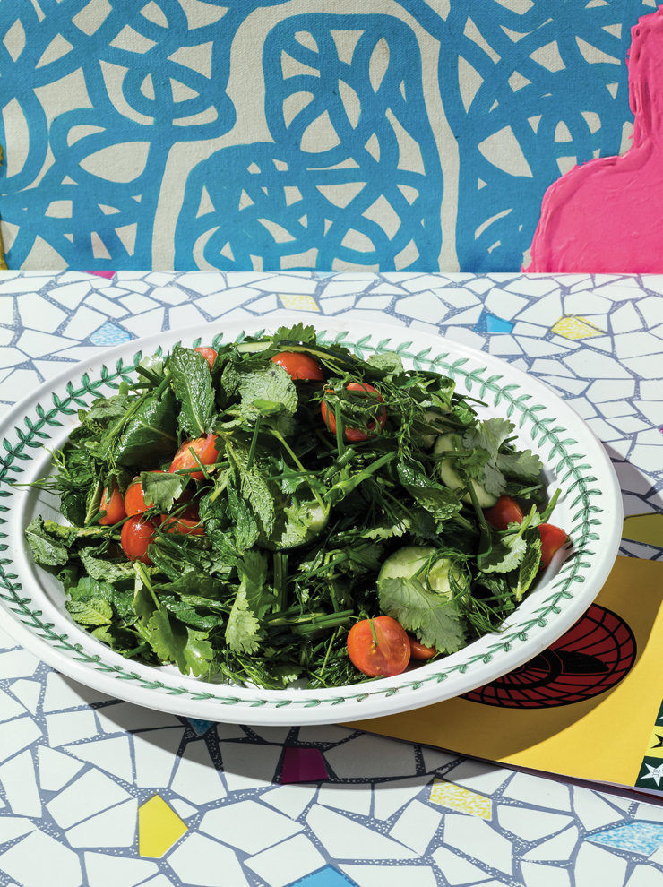 Herb salad and ginger-lime dressing