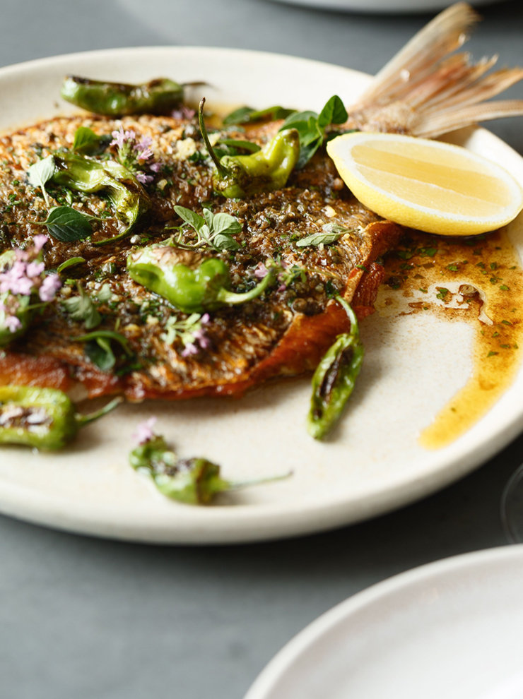 Chiswick's roasted snapper with capers and shishito peppers