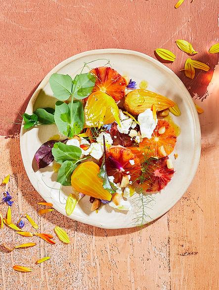 Baby beetroot, blood orange and curd salad