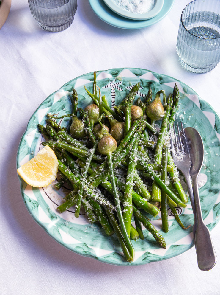 Braised scapes and asparagus