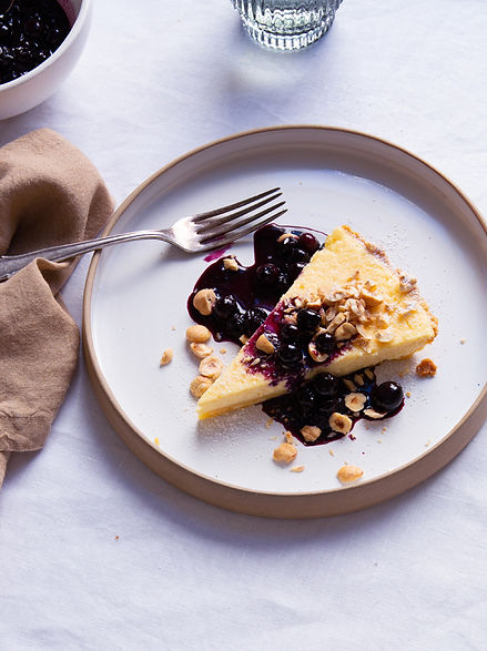 Ricotta tart with blueberries and hazelnuts