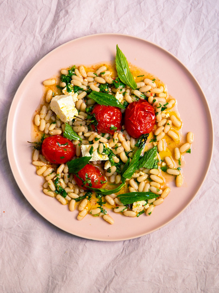 Cannellini beans, mint, feta and blistered tomatoes