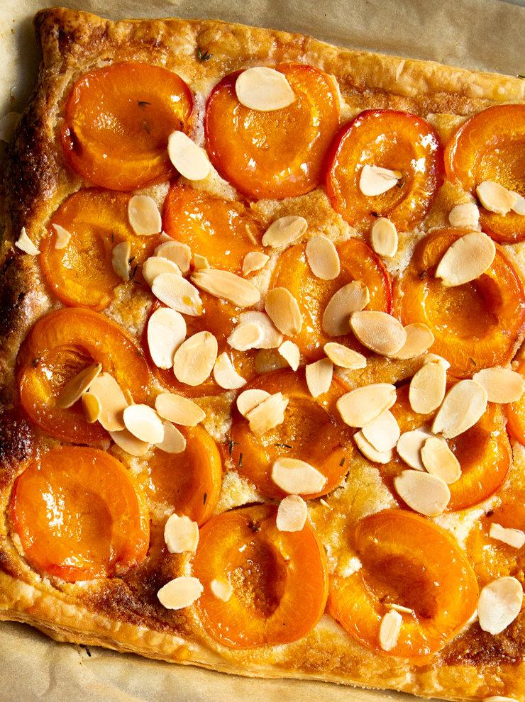 Apricot, almond and orange blossom tart
