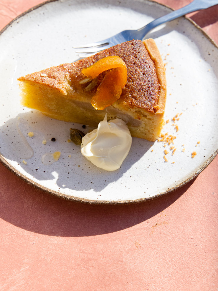 Cardamom, orange, almond and pear tart