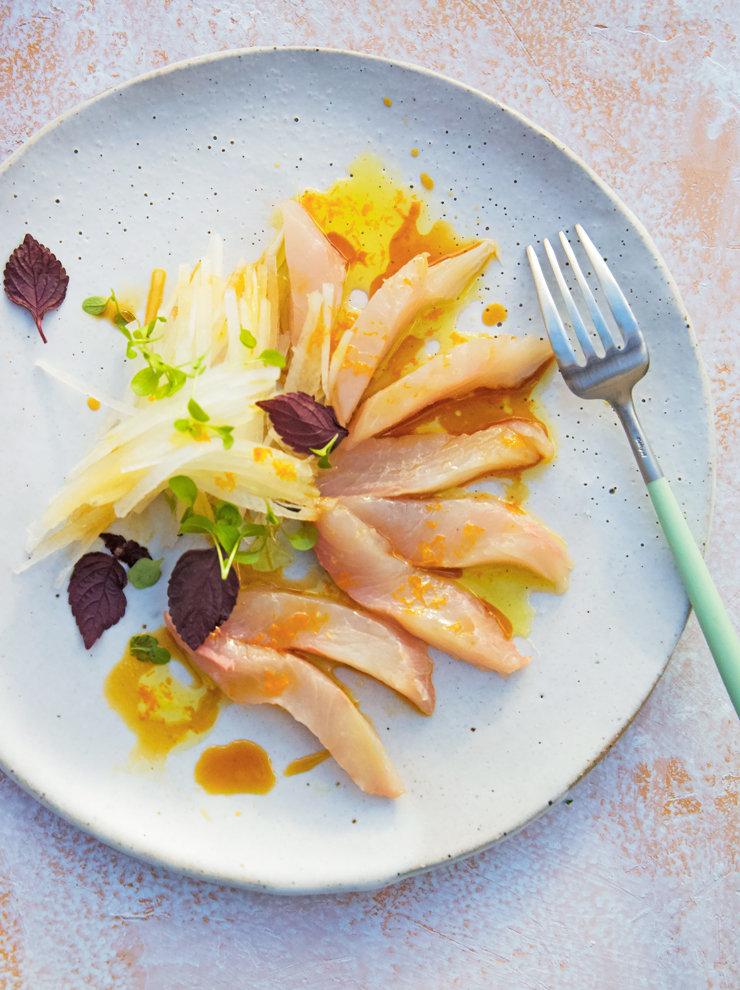 Kingfish with citrus dressing and daikon