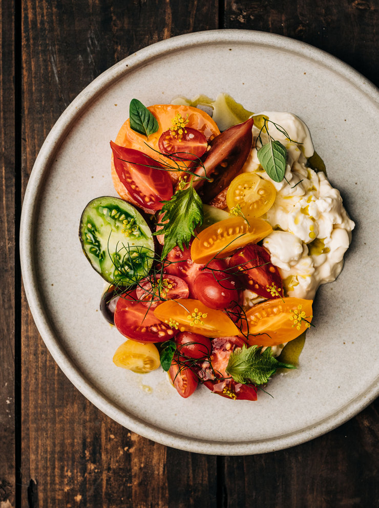 Annette's tomatoes and peaches with honey vinegar and burrata curds