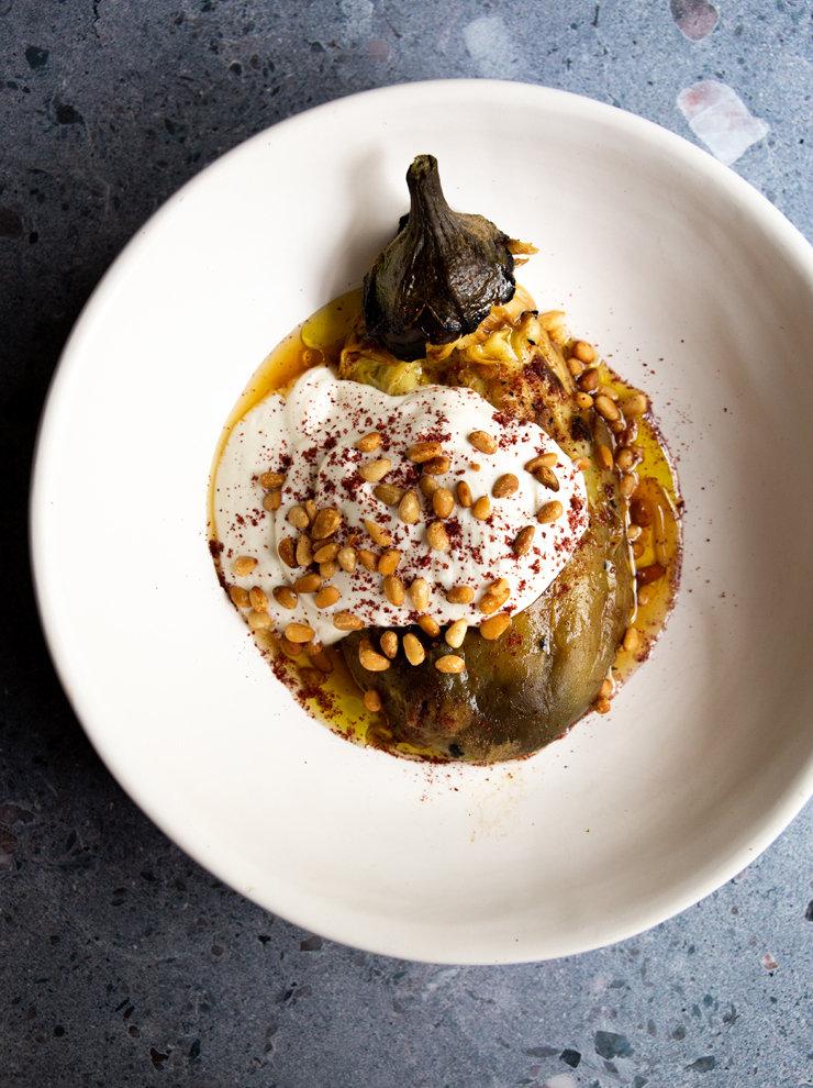 Smoky eggplant with tahini and yoghurt