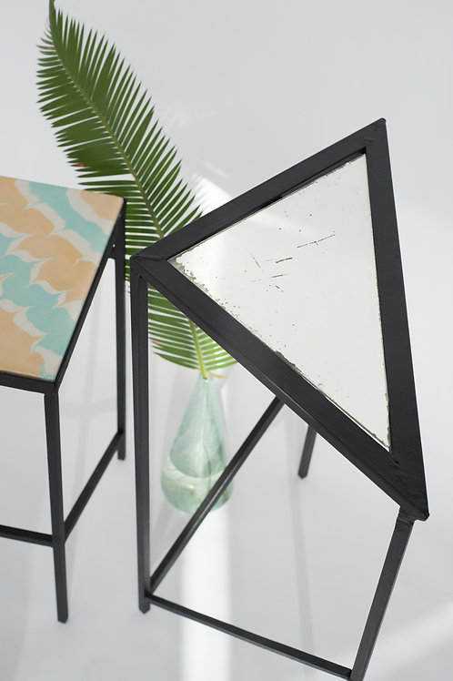 Triangle table with vintage mirror
