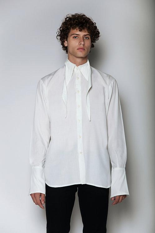 Long white neck shirt