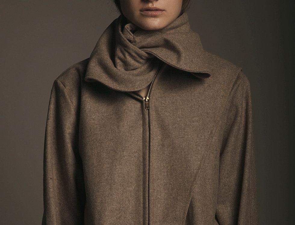 Wide Collar Sand Coat