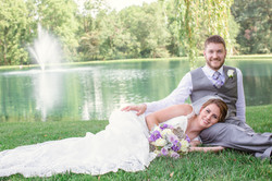 pond view wedding pictures