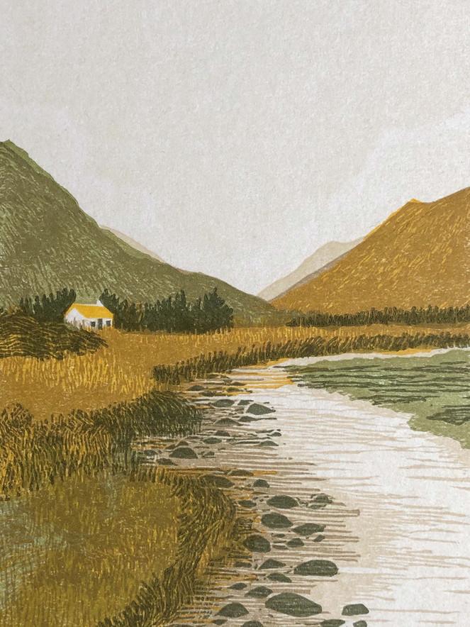 Hannah_Farthing_Glencoe_Linocut_A_House_In_The_Mountains_Lagangarbh
