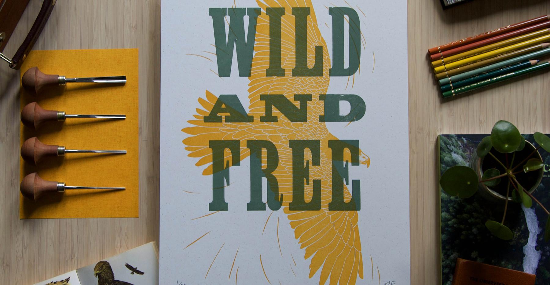 Linocut_Letterpress_Print_Wild_and_Free_Hannah_Farthing