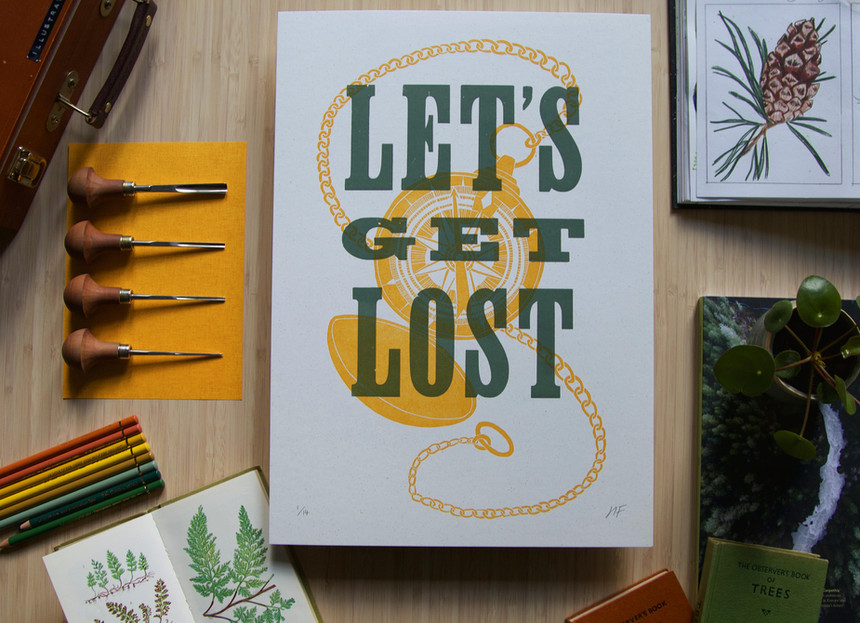 Linocut_Letterpress_Print_Lets_Get_LHannah_Farthing