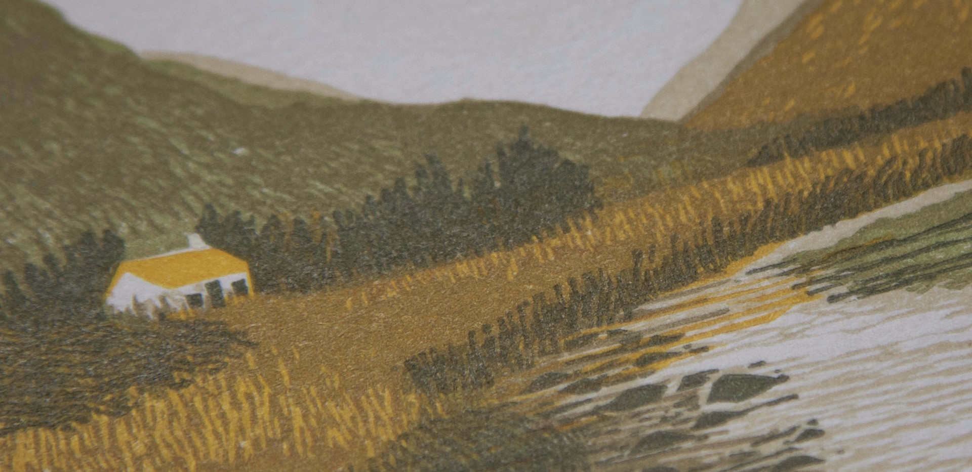 A House In The Mountains - Hannah Farthing - Linocut