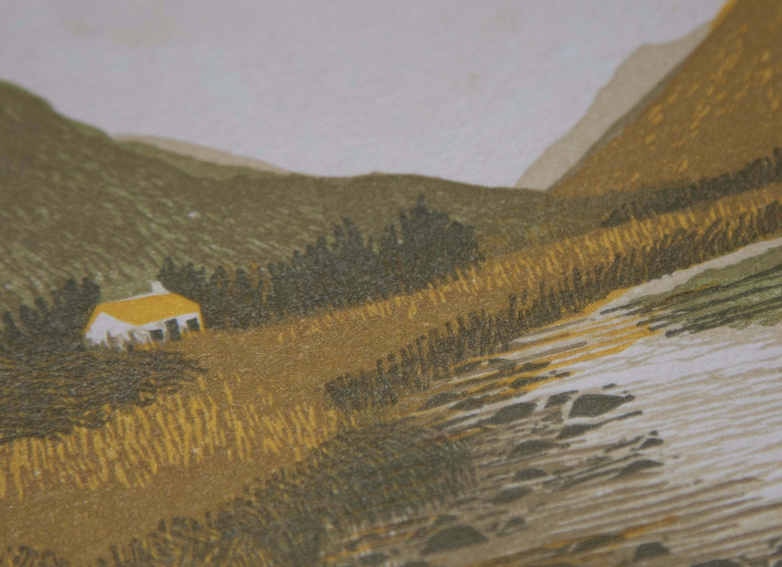 Glencoe_A_House_In_The_Mountains_Linocut_Hannah_Farthing
