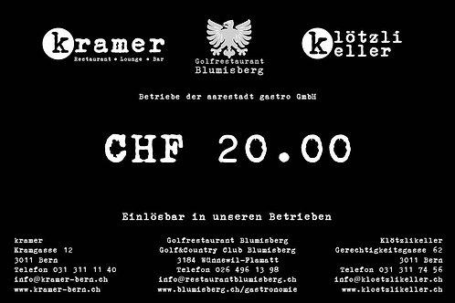 Gutschein CHF 20.00