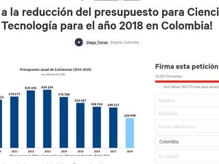 ¡NO a la reducción del presupuesto para Ciencia y Tecnología para el año 2018 en Colombia!
