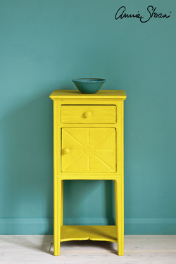 English-Yellow-side-table,-Wall-Paint-in