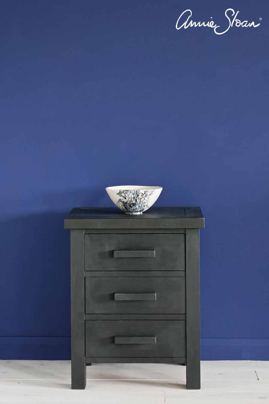 Graphite-side-table,-Napoleonic-Blue-Wal
