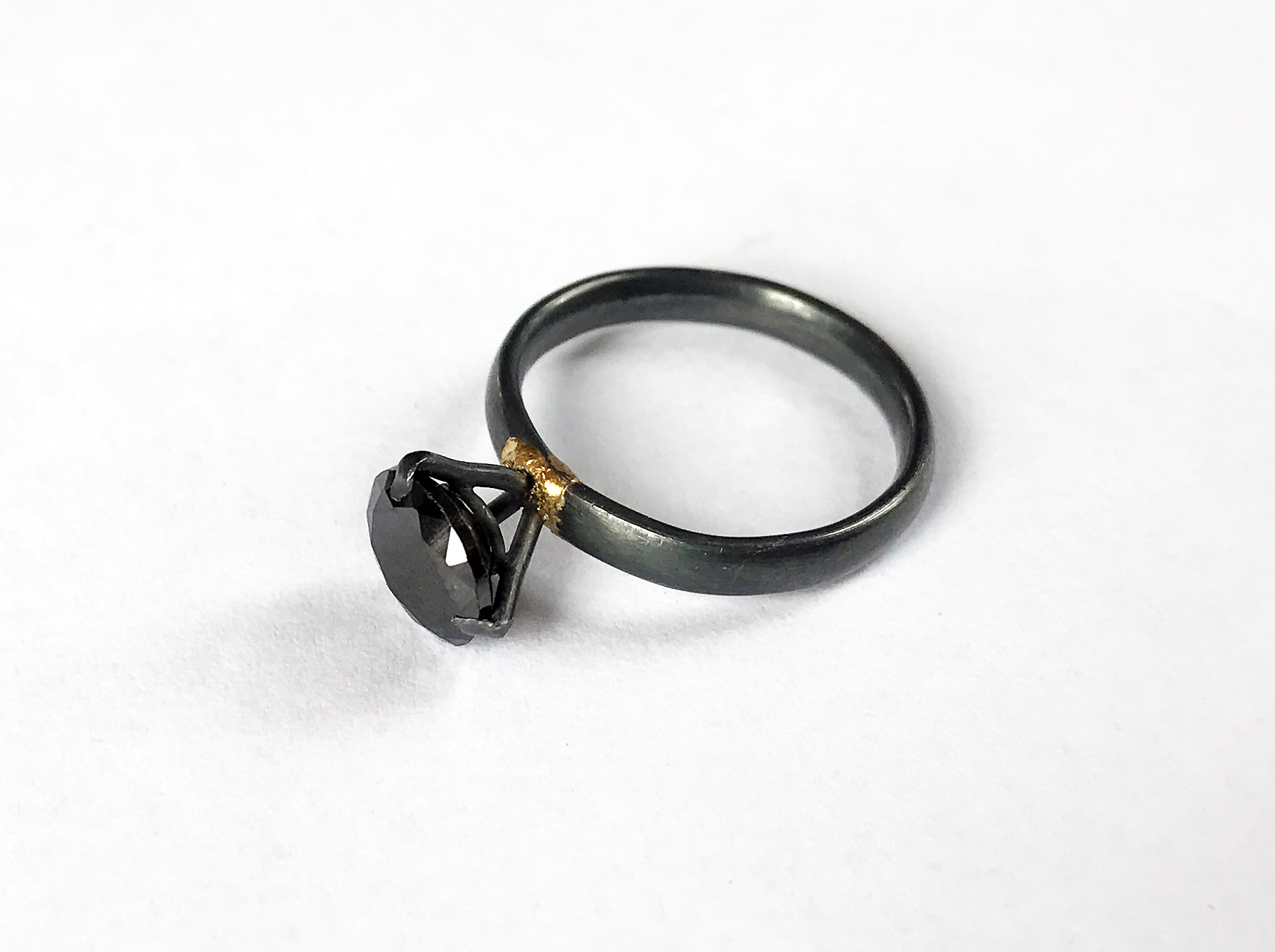 Black CZ Solitaire Ring