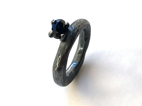 Black Beauty Offset Sapphire Ring