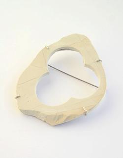 White Stone Brooch tripple Hole