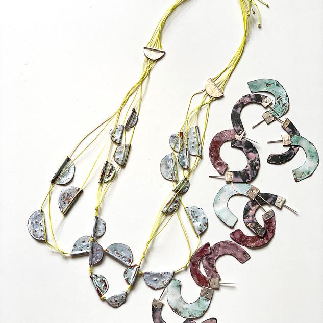 Enamel Necklace and Earrings