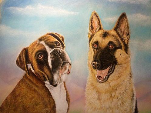 Retrato a Pastel de dos figuras (animales y/o personas)