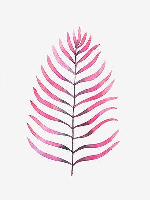 Hoja palmera morada y rosa acuarelas GG love Prints