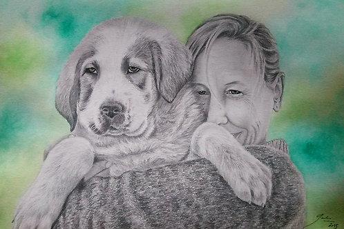 Retrato a Lápiz de Grafito y Acuarelas (2 personas y/o animales)
