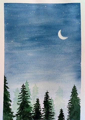 Bosque nordico luna-acuarelas