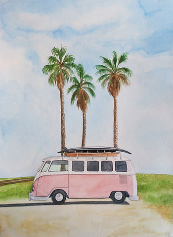 Vans rosa surfer acuarelas GG love Print