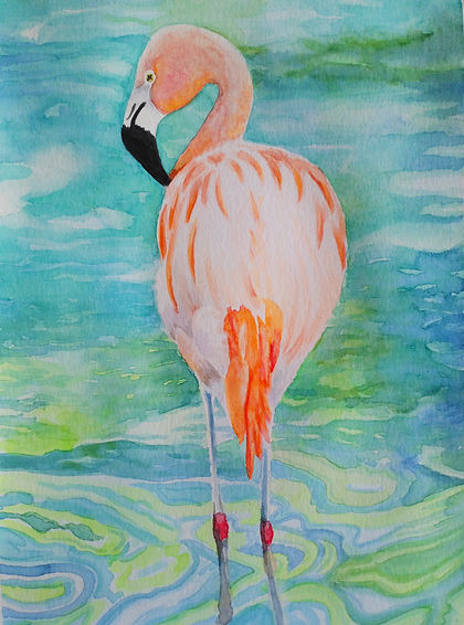 Flamenco agua acuarelas GG love Prints-4