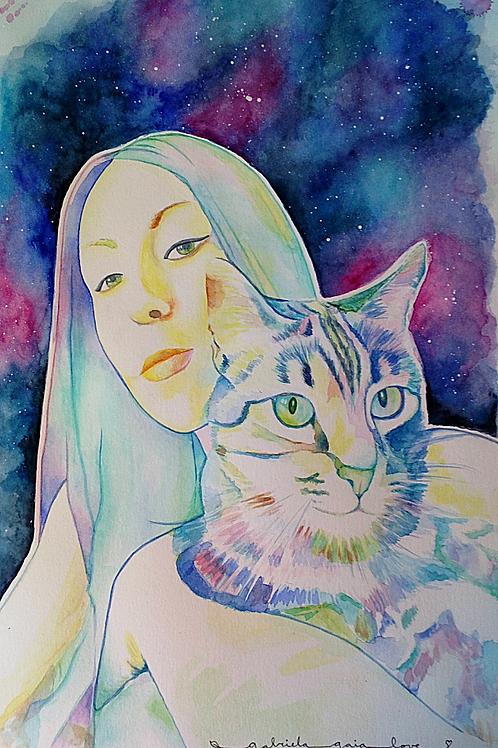 Retrato multicolor en Acuarelas (dos personas o animales)