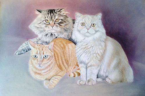 Retrato a Pastel de tres figuras (animales y/o personas)