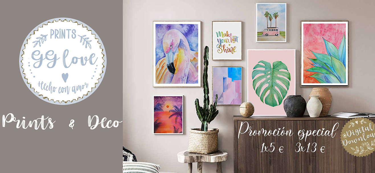 Decoracion con cuadros GG love Prints