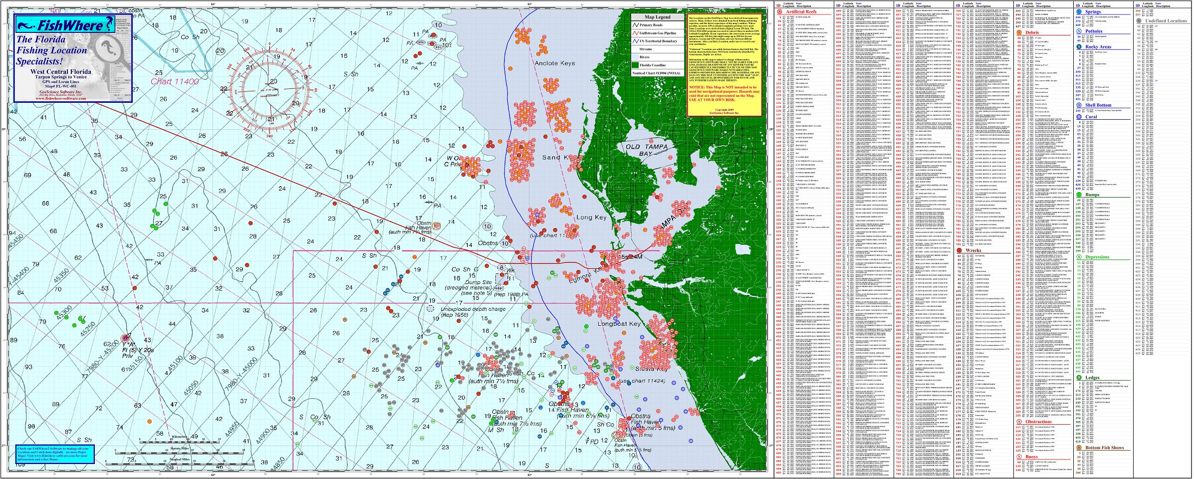 Florida Artificial Reefs Map.Fishing Charts Florida Fishwhere