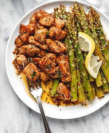 Garlic Butter Chicken Bites and Asparagus