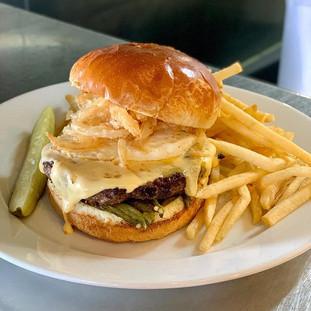 2 lb Angus Burger, over easy egg, roaste