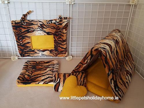 Tiger print set of 2 - Hay bag & tunnel