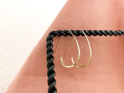Gold Thick + Thin Teardrop Hoops